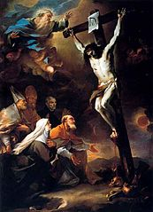 Patron Saints of Naples adoring the Crucifix