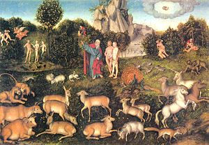 Historicity of the Bible -  The Garden of Eden: from history to mythology. By Lucas Cranach der Ältere (1472–1553)