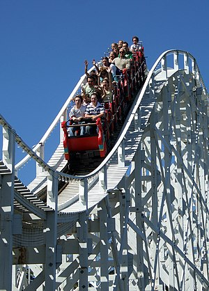 The Scenic Railway at Luna Park, Melbourne, is the world's second-oldest operating roller coaster, built in 1912. Luna Park Melbourne scenic railway.jpg