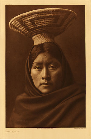 Tohono O'odham - Luzi, a Tohono O'odham woman photograph by Edward Curtis circa 1905