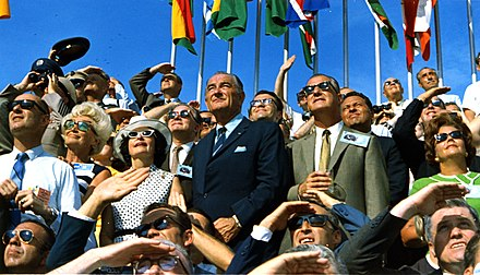 Johnson (center left) and Vice President Spiro Agnew (center right) witness the liftoff of Apollo 11. Lyndon Johnson and Spiro Agnew watch the Apollo 11 liftoff.jpg