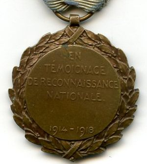 Political Prisoner's Medal 1914–1918 - Reverse of the Medal
