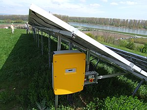 SMA Solar Technology - A Sunny Mini Central mounted with a ground-mounted system in Speyer, down the Rhine