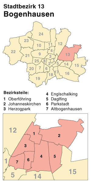 Bogenhausen - District map