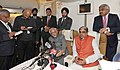 M. Hamid Ansari addressing a Press Conference on board Special Aircraft to Brunei and Thailand, on February 01, 2016. The Minister of State for Home Affairs, Shri Haribhai Parthibhai Chaudhary is also seen.jpg