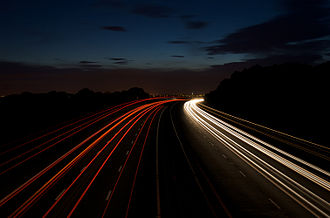 M61 motorway - The M61 at night looking towards Chorley