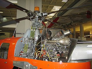 MBB Bo 105 - A view of a Bo 105's engine, transmission, and main rotor