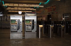 Ticket machines and fare gates at the World Trade Center station on the Silver Line.