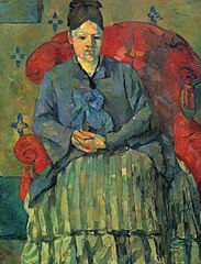 Madame Cézanne à la jupe rayée (Madame Cézanne in a Red Armchair)
