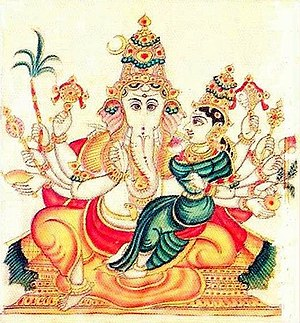 Mahaganapati - Mahaganapati, folio from the Sritattvanidhi (19th century). Here he is depicted with ten arms and accompanied by a goddess.