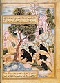 Maimun, the patriotic monkey, lures the bears tj their fate. Anvar-i Suhaili by Husain Wa'iz Kashifi. 1570-71School of Oriental and African Studies, Lond.jpg