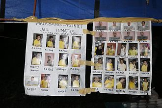 Battle of Marawi - Listing of inmates of the Malabang District Jail at a PNP checkpoint.