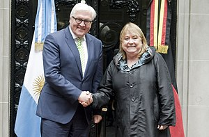 Argentina–Germany relations - Susana Malcorra, Argentina's Minister of Foreign Affairs with Frank-Walter Steinmeier, German Minister of Foreign Affairs in Buenos Aires.