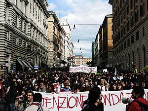 Mariastella Gelmini - Students demonstration against Gelmini's reforms.