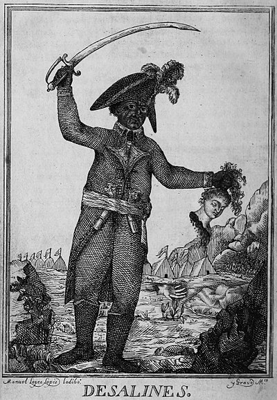 An 1806 engraving of Jean-Jacques Dessalines. It depicts the general, sword raised in one arm, while the other holds a severed head of a white woman. Manuel Lopez Lopez Iodibo - Desalines - Huyes del valor frances, pero matando blancos.jpg