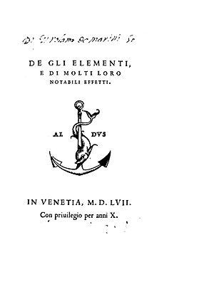 Paulus Manutius - De gli elementi e di molti loro notabili effetti, 1557