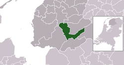 Highlighted position of Heerenveen in a municipal map of Friesland