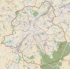 """Mapa konturowa Brukseli, w centrum znajduje się punkt z opisem """"Ixelles"""""""