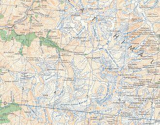 Shipton–Tilman Nanda Devi expeditions - Nanda Devi and Sanctuary (1955 map)