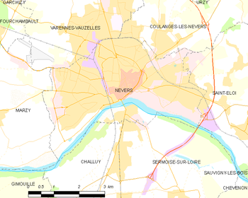 Map of the commune of Nevers