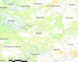 Bélesta, Pyrénées-Orientales - Map of Bélesta and its surrounding communes