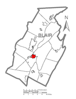 Map of Blair County highlighting Hollidaysburg