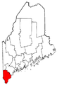 Map of Maine highlighting York County.png