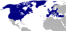 NATO countries shown in blue