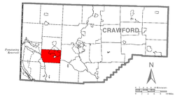 Location of Sadsbury Township in Crawford County