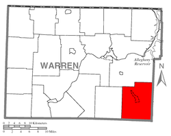 Location of Sheffield Township in Warren County