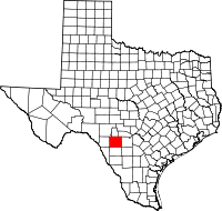 Map of Texas highlighting Uvalde County