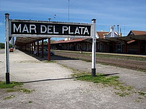 Mar del Plata railway station - Platforms and sign.