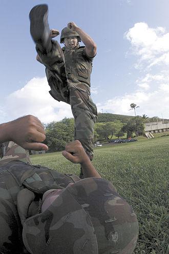 Stomp (strike) - Marines practicing axe stomp.
