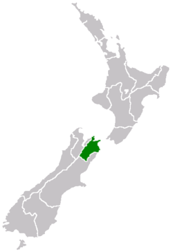 Location on South Island
