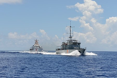 The USCGC Oliver Berry and the RMIS Lomor on a joint patrol Marshall Islands Police patrol vessel Lomor and USCGC Oliver Berry - 180703-G-CA140-115.jpg