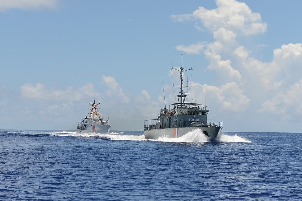 Marshall Islands Police patrol vessel Lomor and USCGC Oliver Berry - 180703-G-CA140-115