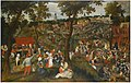 Marten van Cleve - A village celebrating the kermesse of Saint Sebastian, with an outdoor wedding feast with guests bringing gifts.jpg