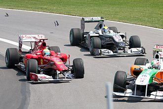2010 Canadian Grand Prix - The first lap saw contact between Felipe Massa and Vitantonio Liuzzi.