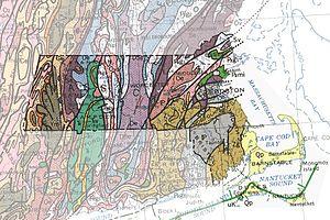 Geology of Massachusetts - A geological map of the state, showing how the bedrock strata are squeezed together.