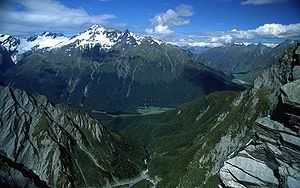 Mount Aspiring National Park - West Matukituki Valley and the Matukituki River seen from Cascade Saddle