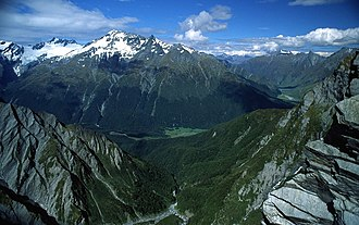 Protected areas of New Zealand - West Matukituki Valley and the Matukituki River seen from Cascade Saddle in Mount Aspiring National Park.
