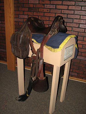 McClellan saddle - McClellan saddle in black leather, post-Civil War period. Fort Kearny State Museum