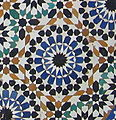 Decorative brightly coloured tiling in Morocco]