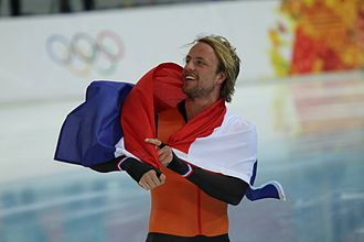 Speed skating at the 2014 Winter Olympics – Men's 500 metres - Michel Mulder celebrating his victory