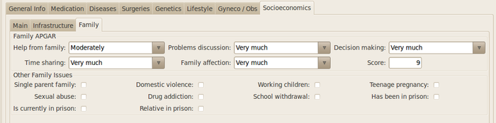 GNU Health - Socioeconomics - Family tab