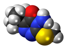 Space-filling model of the metribuzin molecule
