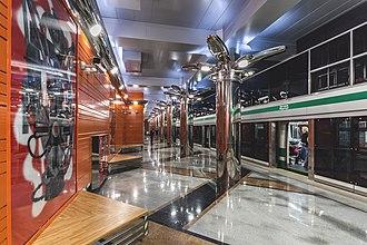 Begovaya (Saint Petersburg Metro) - Image: Metro SPB Line 3 Begovaya Station Hall