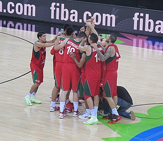 Mexico national basketball team - Team Mexico celebrating a victory.