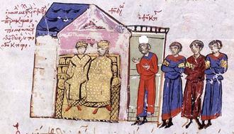 Theoktistos - Michael III with Theodora and Theoktistos (with the white cap), from the Madrid Skylitzes