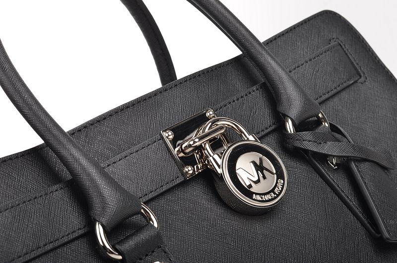 file michael kors hamilton lg ew satchel handtasche 30f4shms7t kalbsleder schwarz silber 3. Black Bedroom Furniture Sets. Home Design Ideas